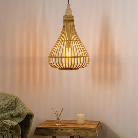 Lámpara colgante Amsfield de bambú, forma pera