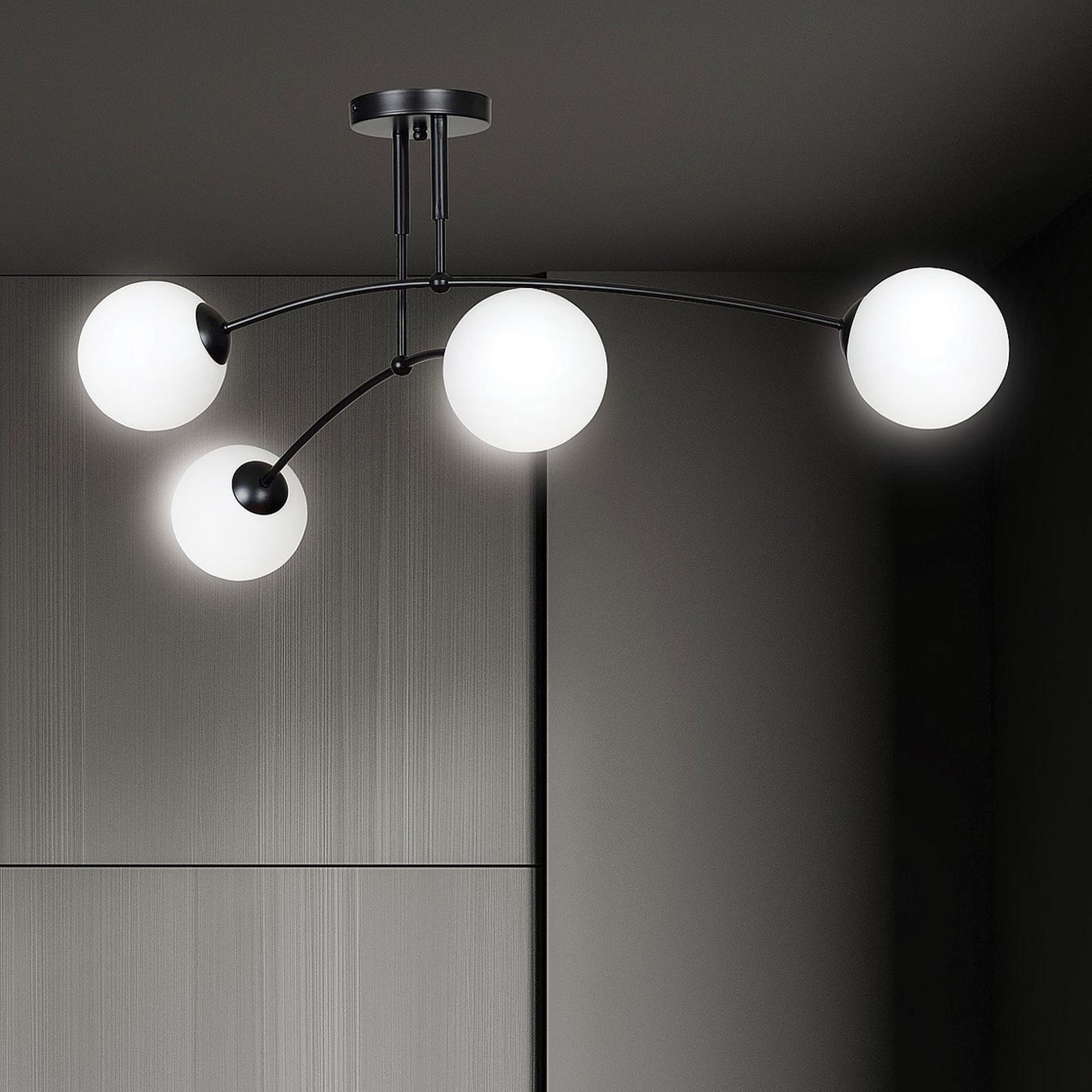 Plafonnier Pregos 4 en noir, à 4 lampes
