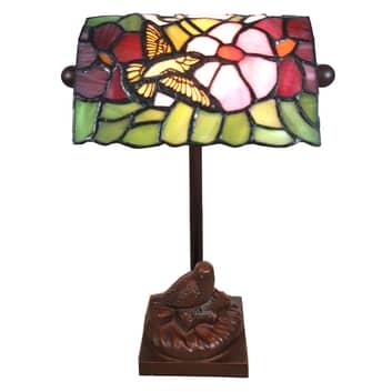 Bordslampa 6008, Tiffany-stil, med fågelmotiv