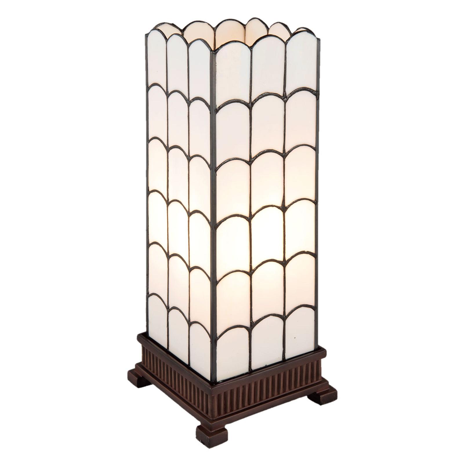 Tafellamp 5930 in wit, Tiffany-design, 45 cm