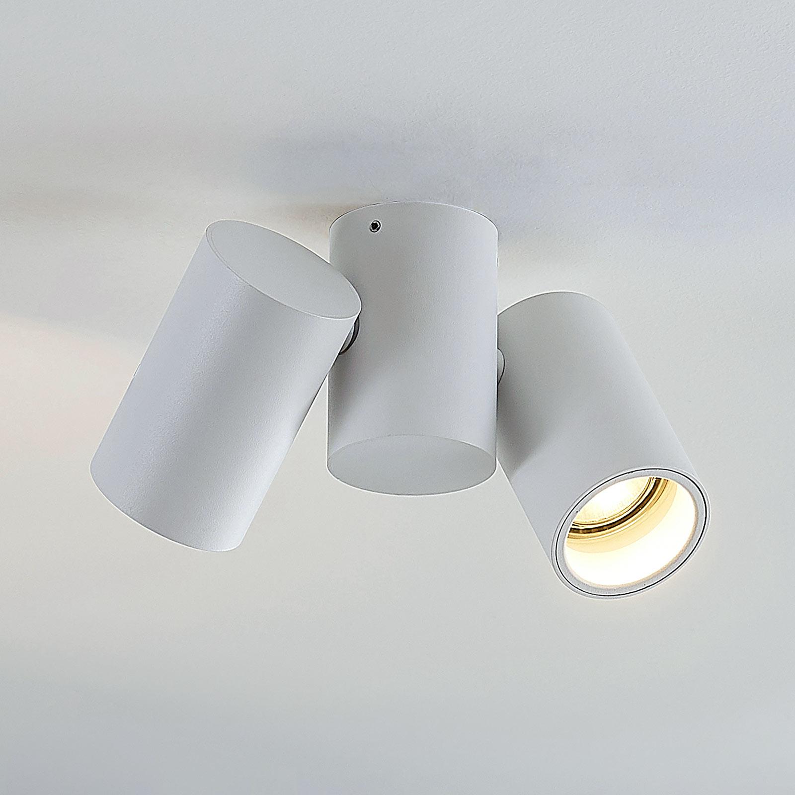Lámpara de techo Gesina, dos luces, blanca