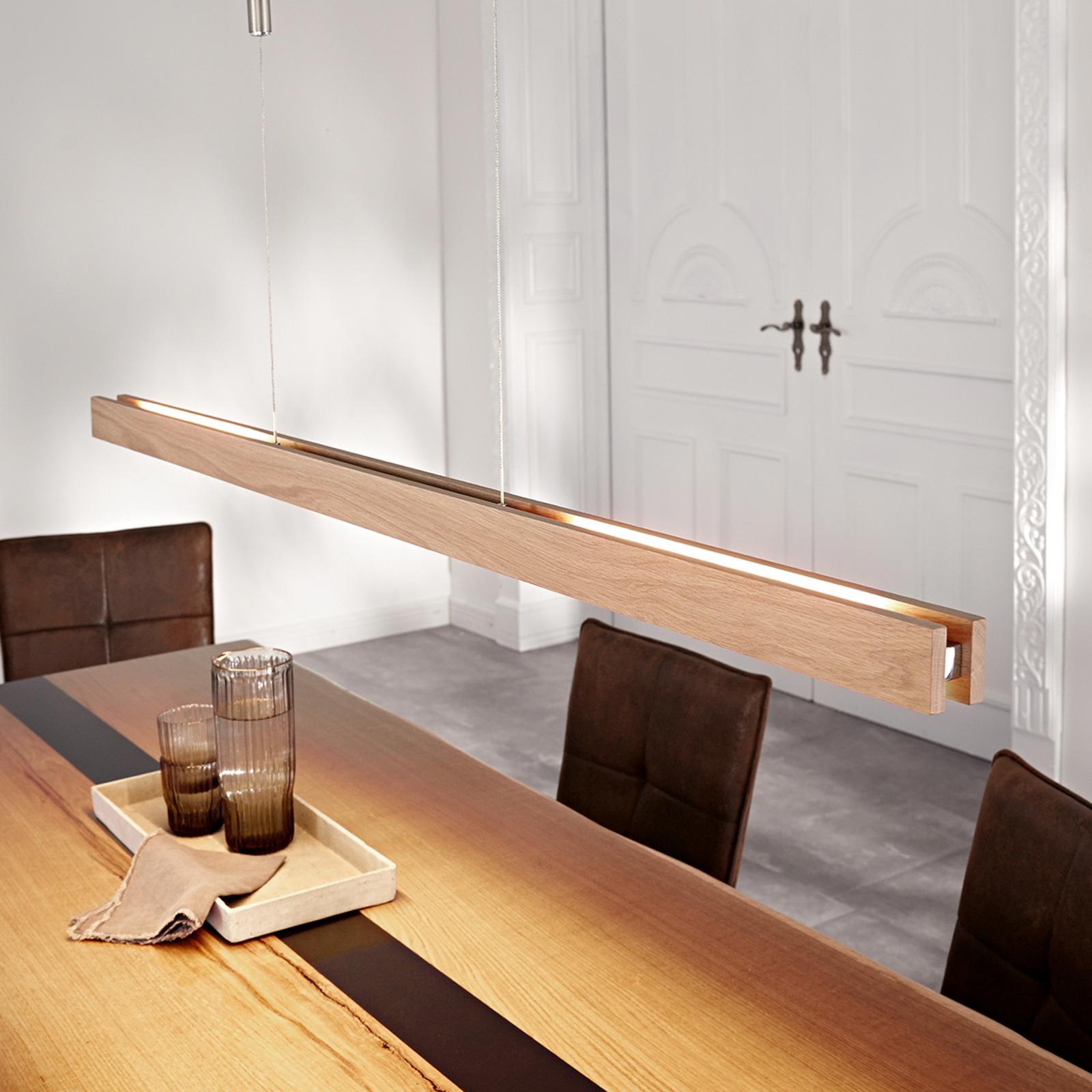 Holz-LED-Hängeleuchte Alin, eiche natur, 138 cm