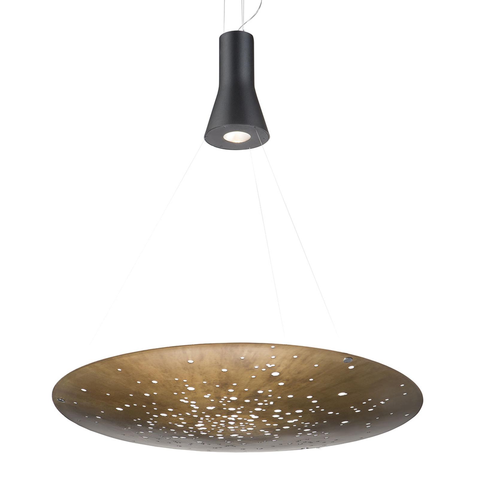 Fabbian Lens LED hanglamp Ø 90 cm brons