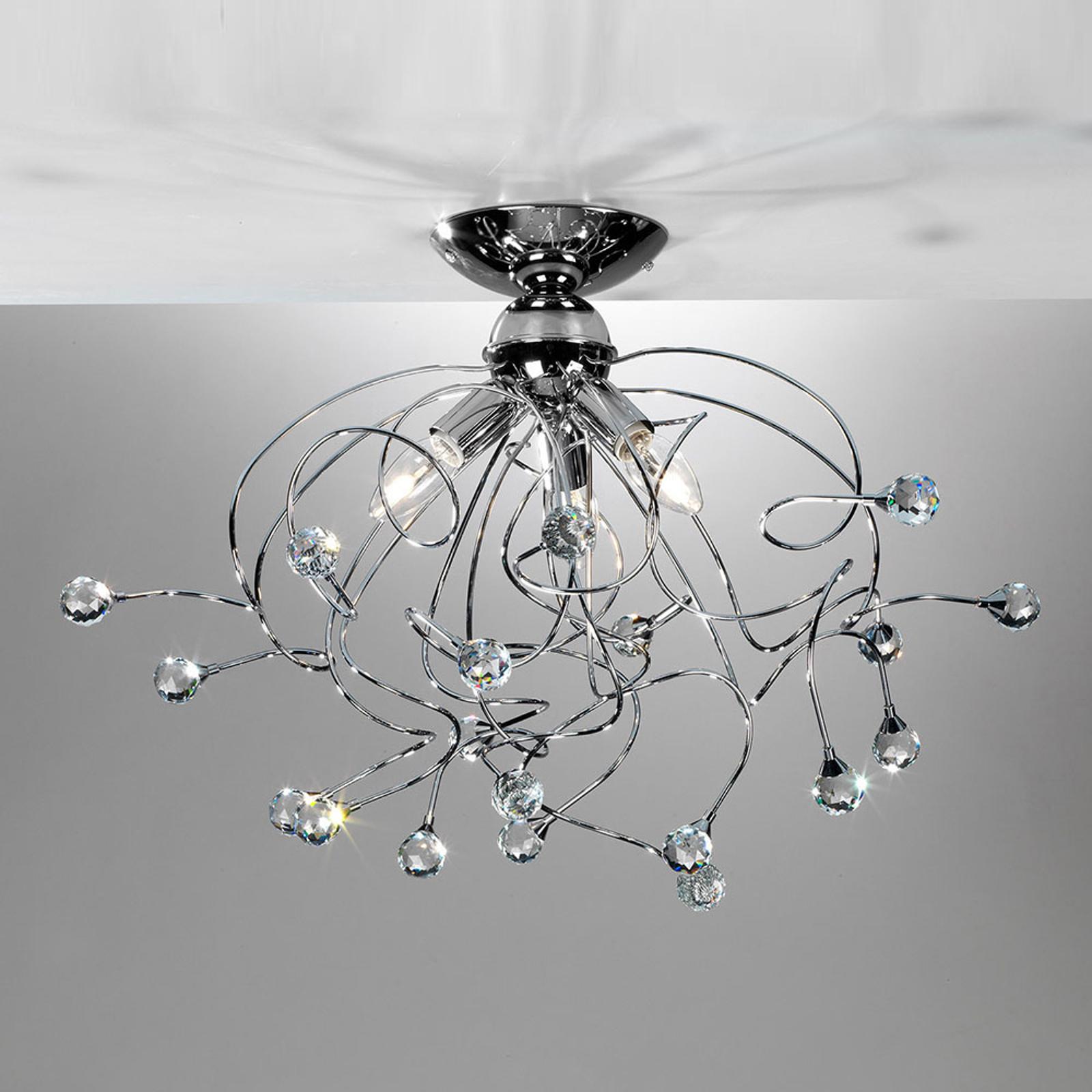 Taklampe Trilly in krom med krystaller, 3 lys