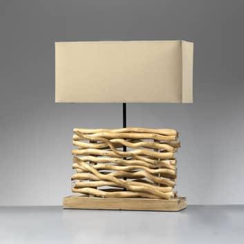 Bordslampa Marica, tygskärm och trä, höjd 50 cm