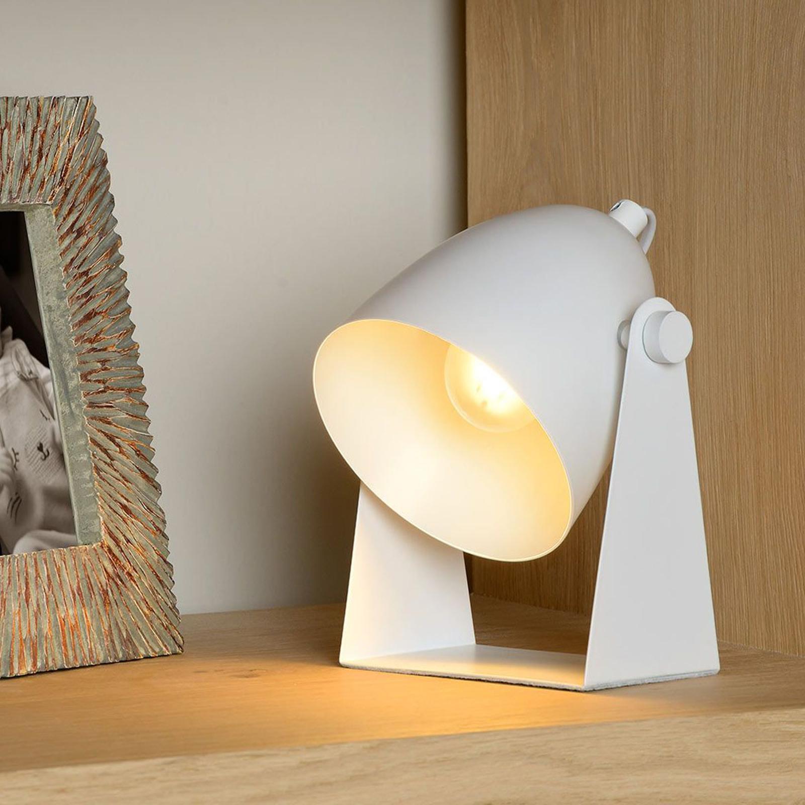 Lampada da tavolo Chago in metallo, colore bianco