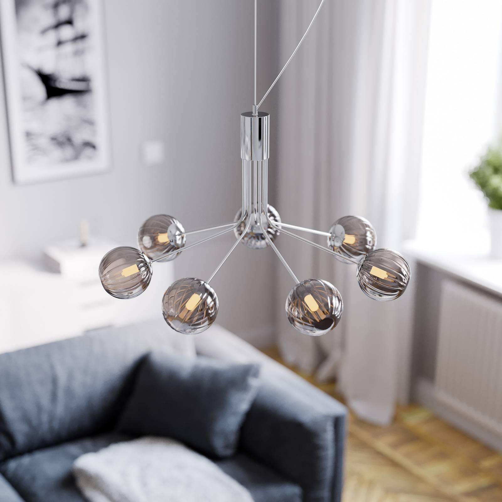 By Rydéns Galax suspension chromée/grise 7 lampes