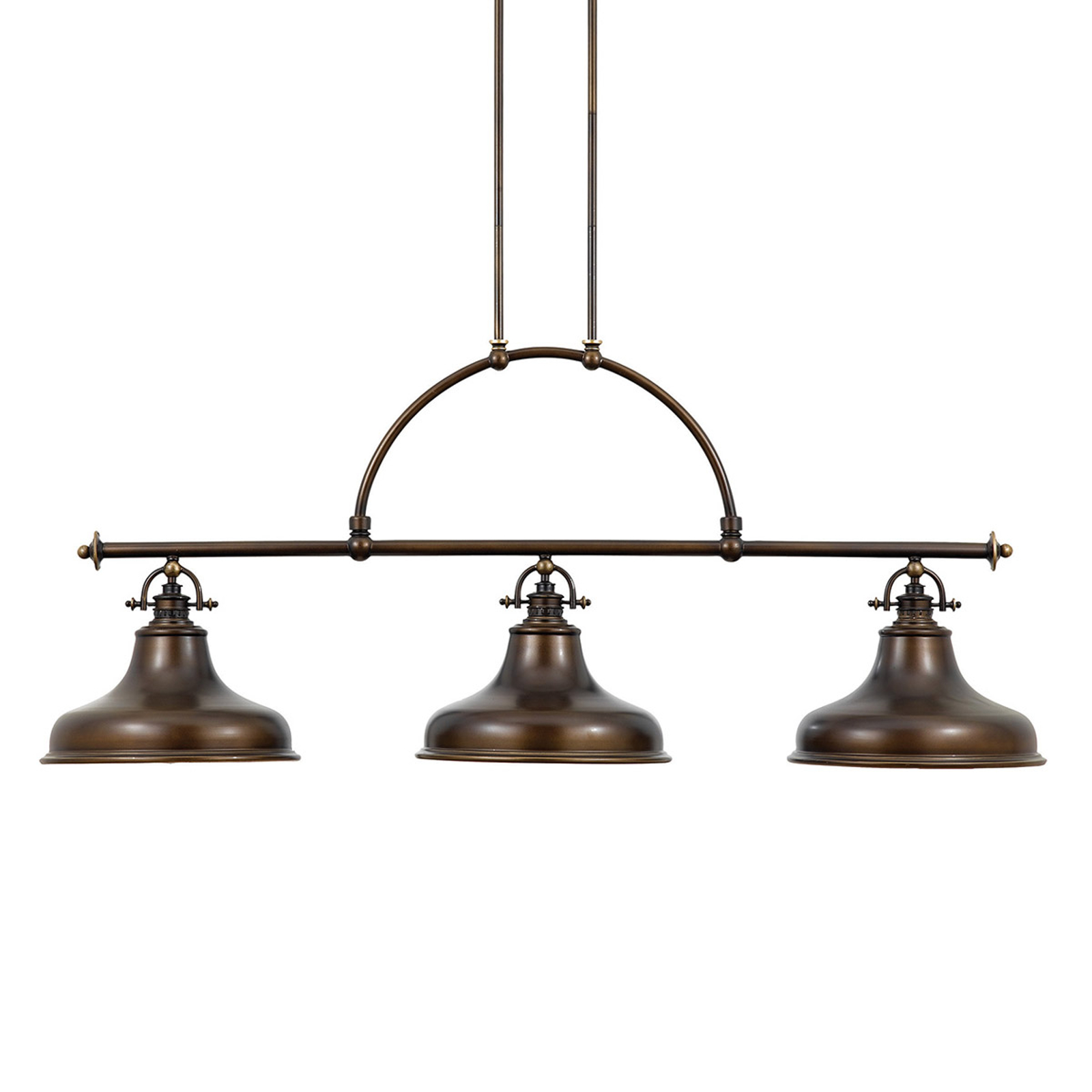 Závesná lampa Emery, priemyselný štýl, bronz 3-pl.