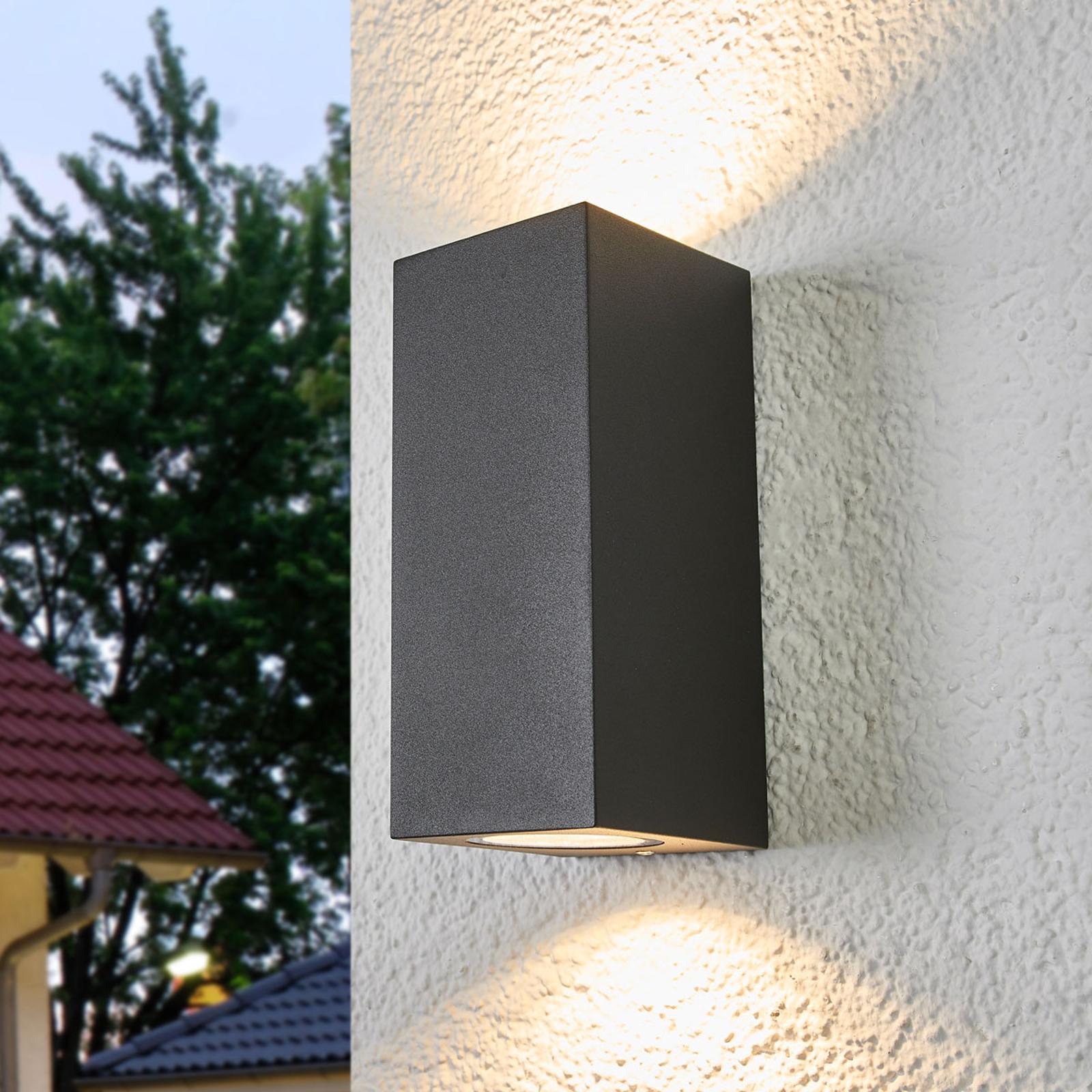 Buitenwandlamp Xava met twee lampjes, grafietgrijs