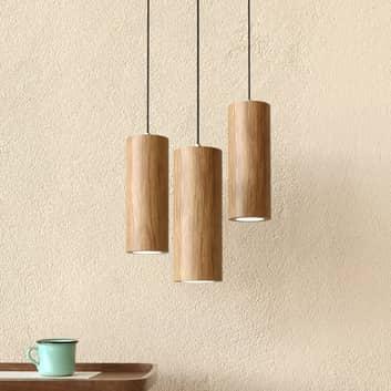 Lámpara colgante LED Pipe, 3 luces, madera roble