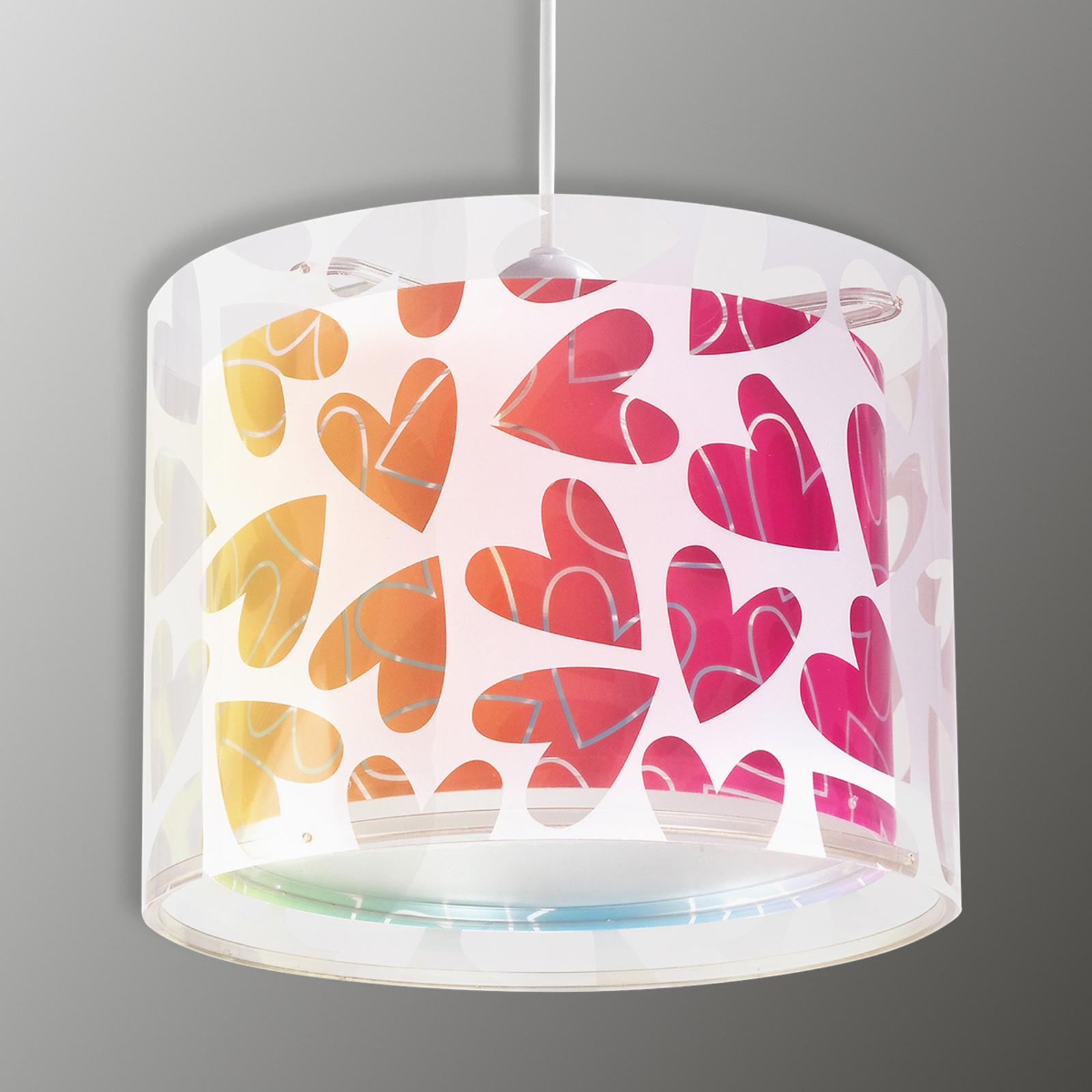 Met harten versierde kinder-hanglamp Cuore