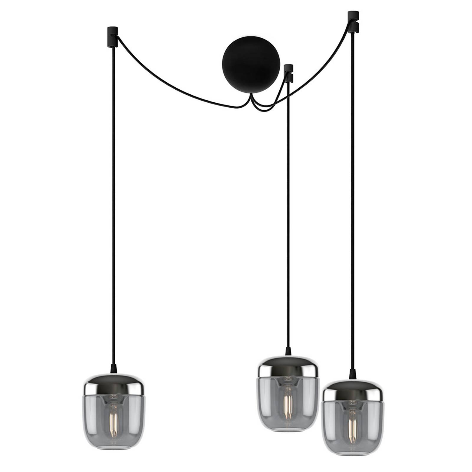 UMAGE Acorn suspension à 3 lampes gris fumée acier