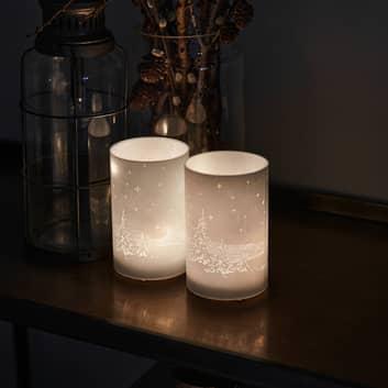 LED-koristekynttilä Ava, 2 kpl, 12 cm, metsäkuvio