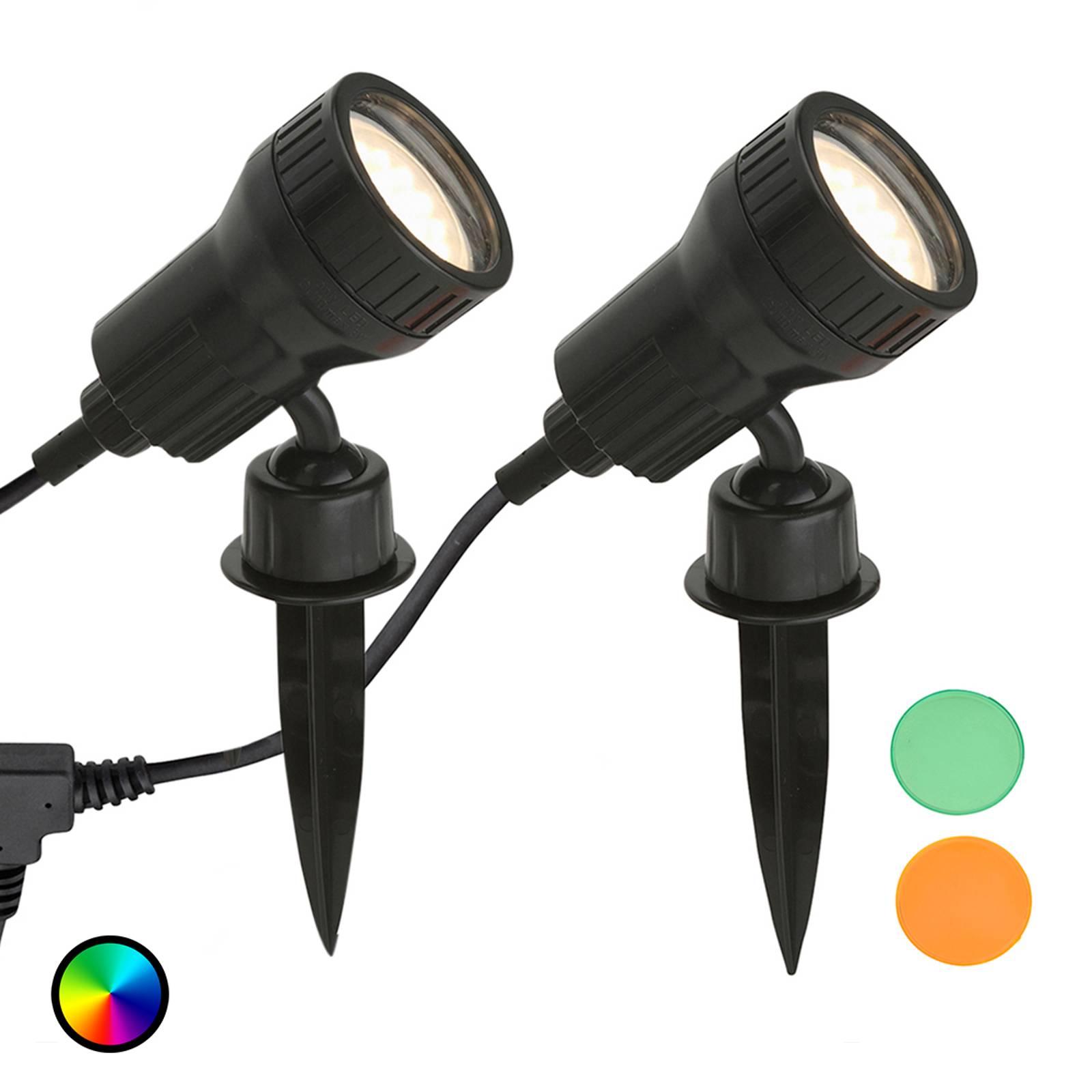 Lampada LED a picchetto Terra con filtri, set da 2