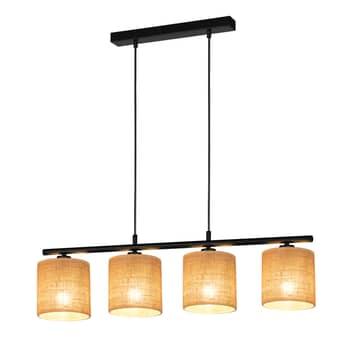 Lámpara colgante Jute, 4 pantallas en barra metal