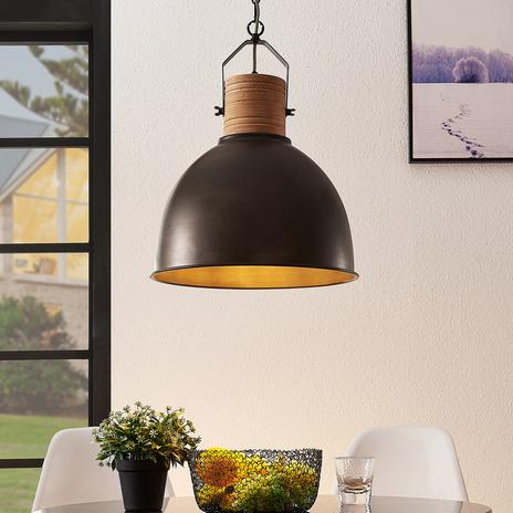Lindby Arina lampa wisząca z metalu i drewna