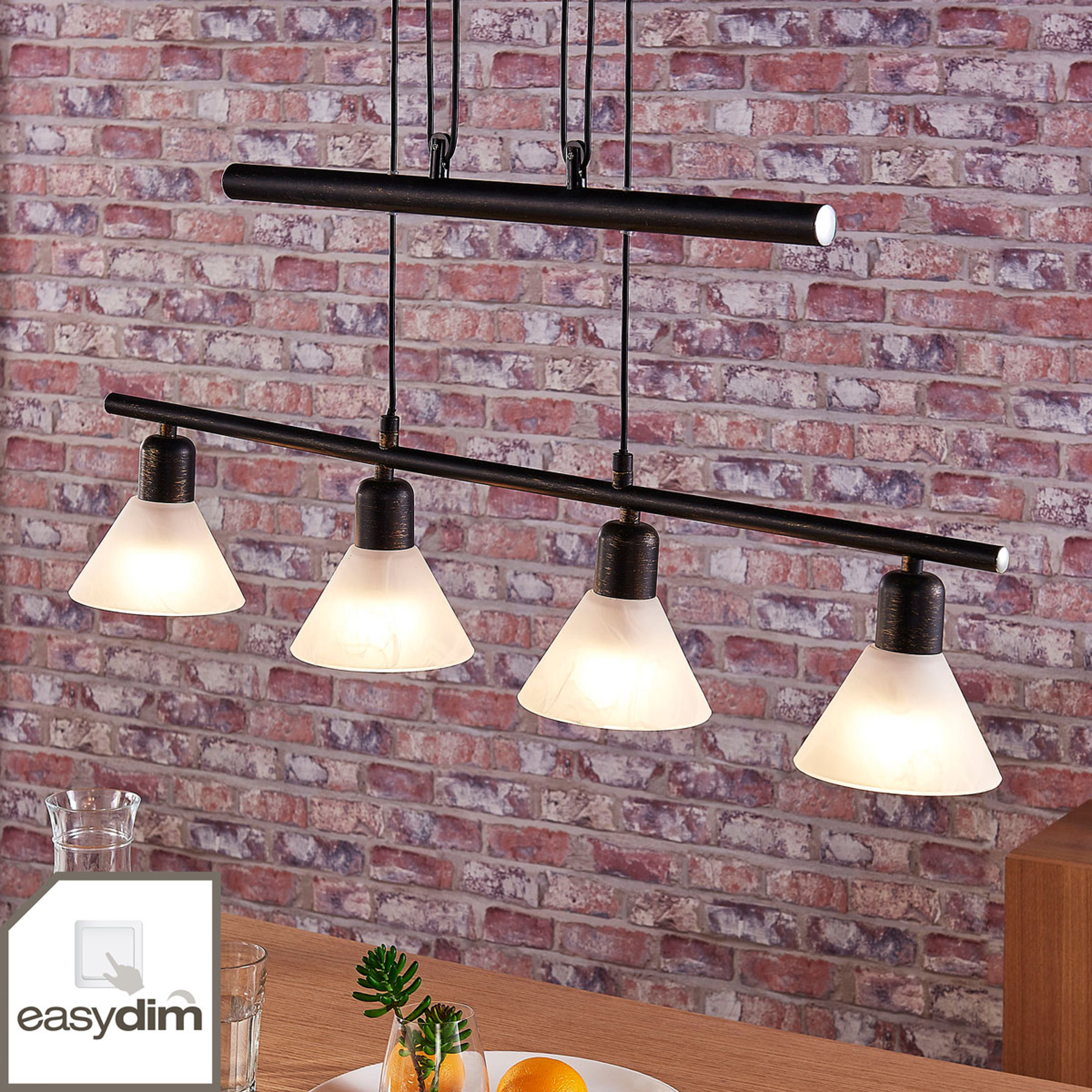Suspension LED Eleasa, easydim à 4 lampes, noire