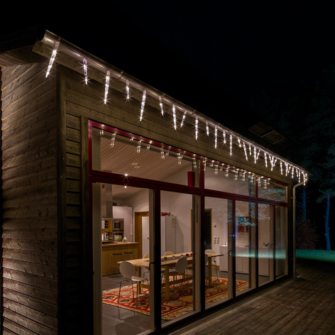 Strålande LED-ljusslinga med istappar, 96 ljus