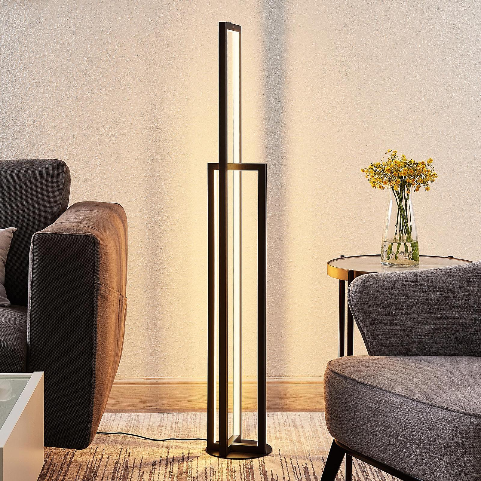 Lucande Hylda lampadaire LED en noir