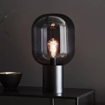 Bordslampa Brooklyn, rökgrå glasskärm
