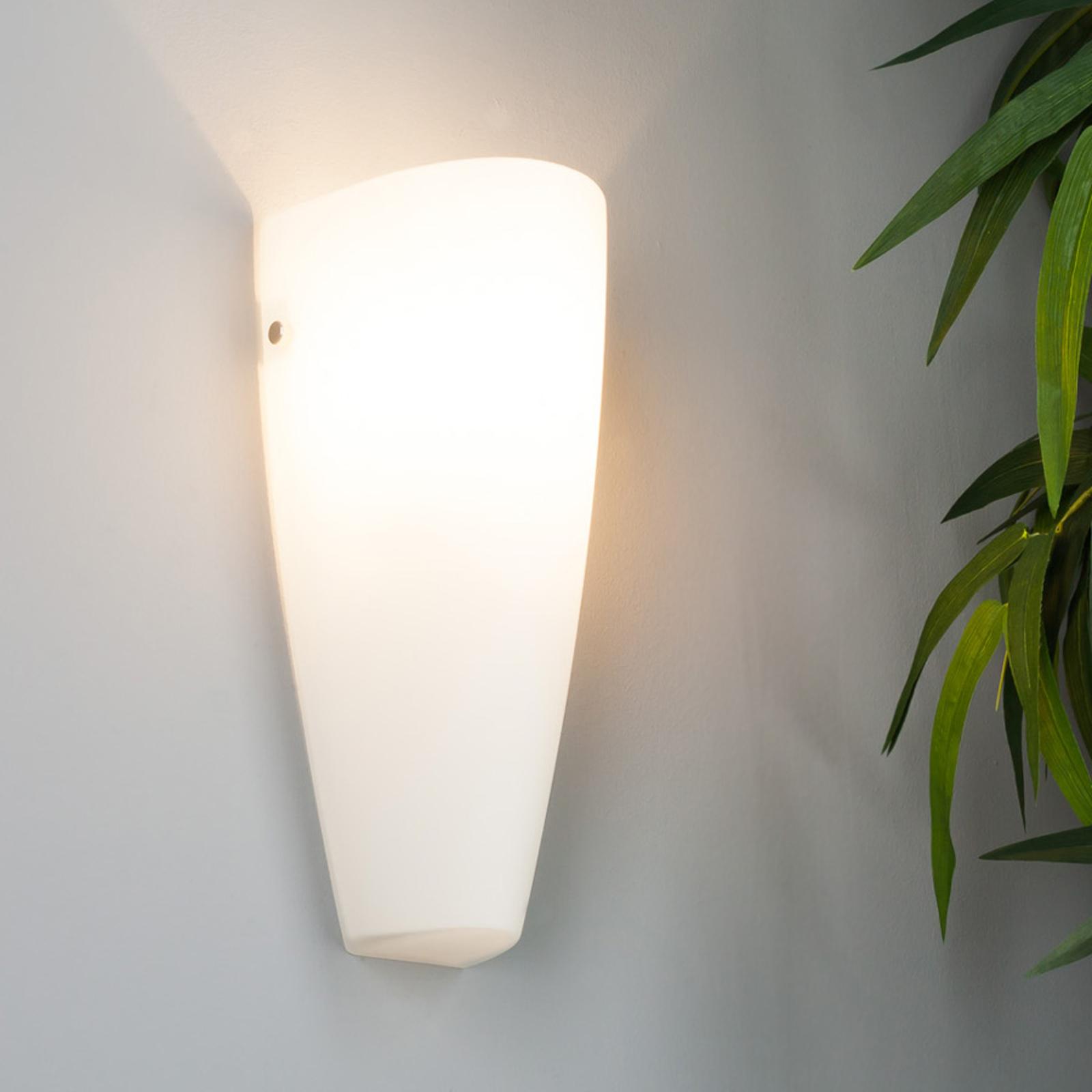Glazen wandlamp Hermine in wit