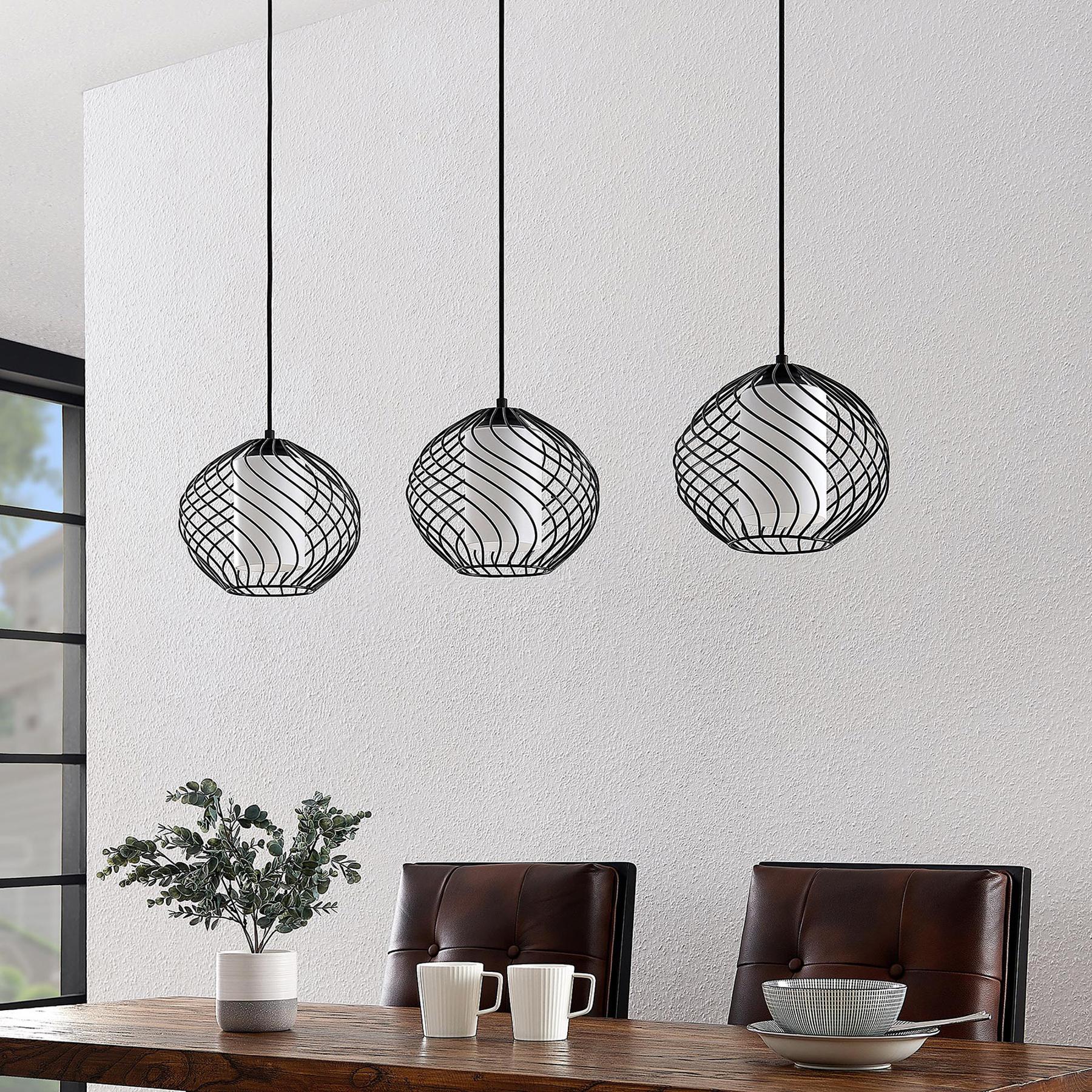 Lindby Cedrice kooi-hanglamp, 3-lamps