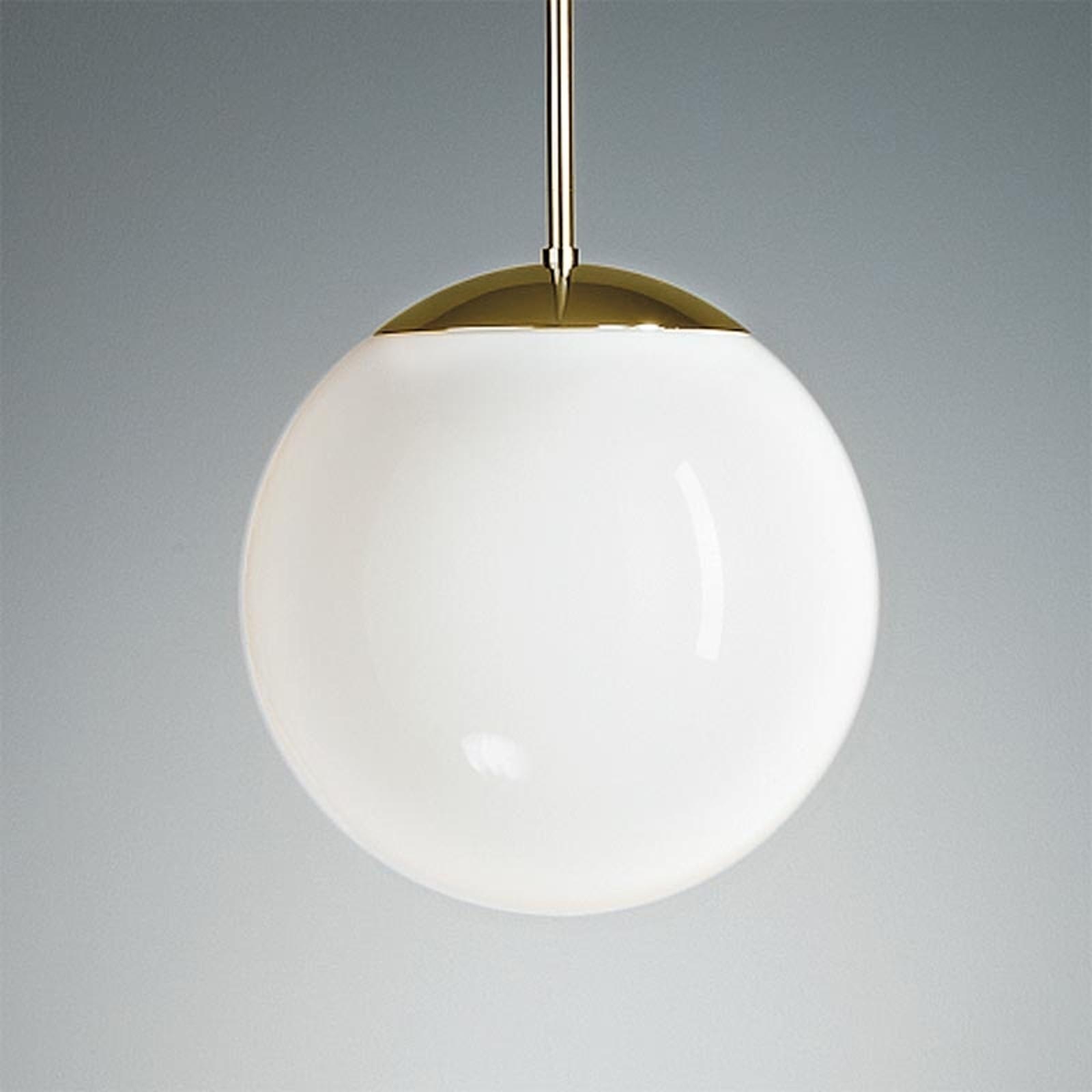 Lampa wisząca z opalowym kloszem 25 cm mosiądz