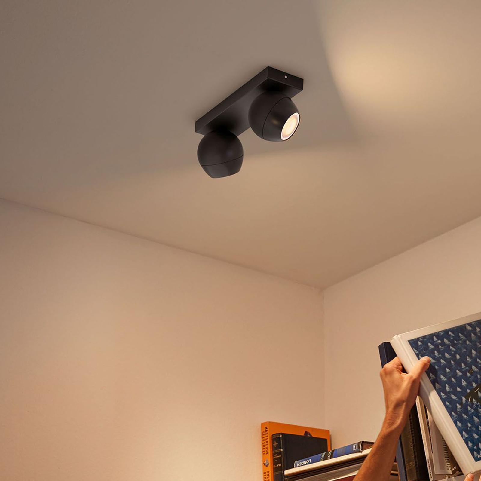 Philips Hue Buckram 2 lampes variateur noir