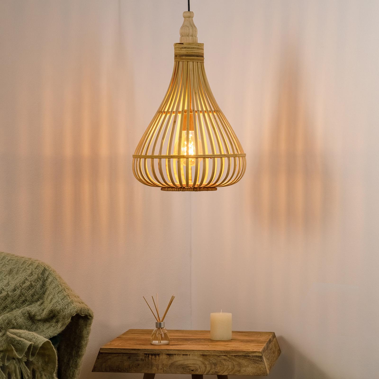 Lampa wisząca Amsfield z bambusa, kształt gruszki