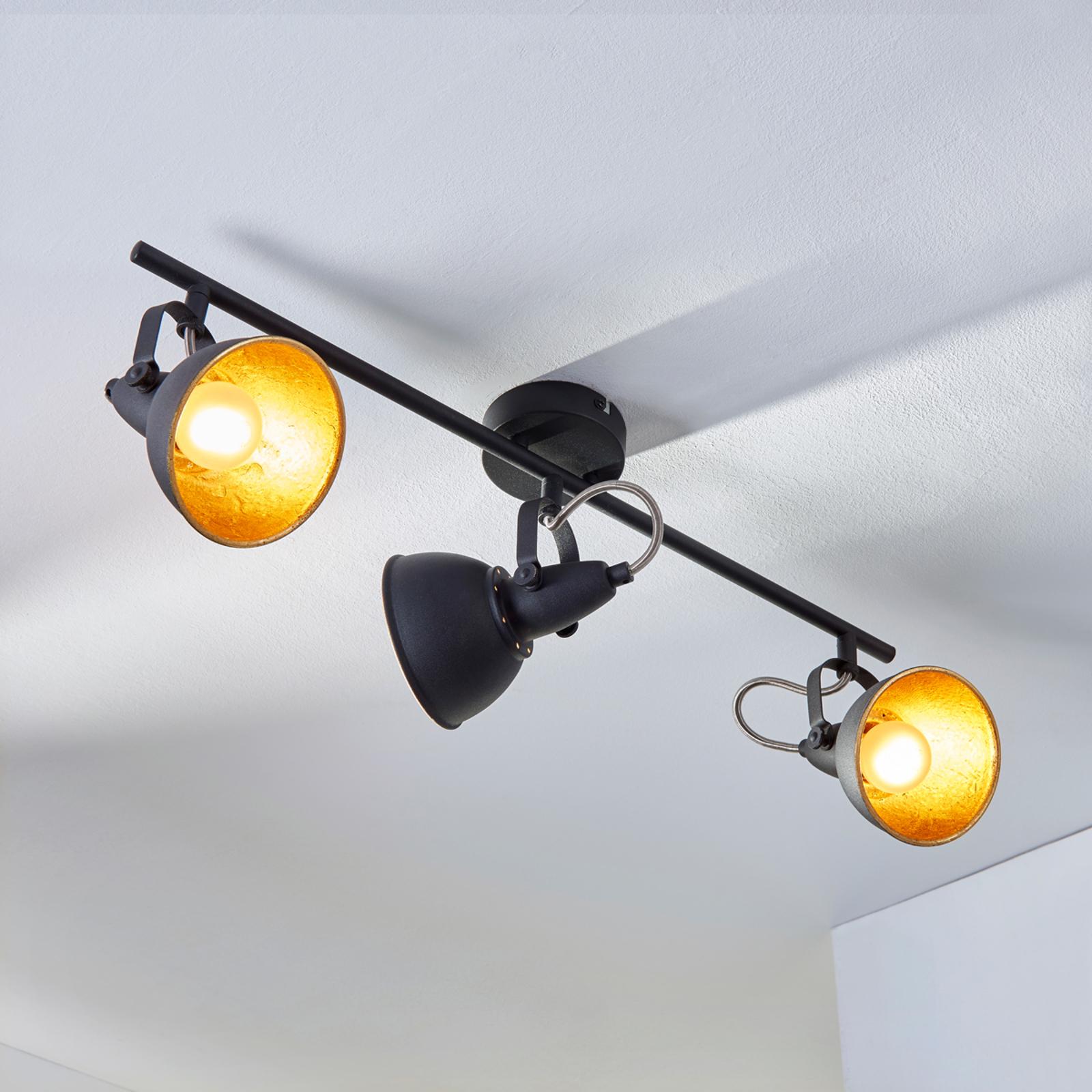 Julin loftlampe med to lyskilder, sort-guld