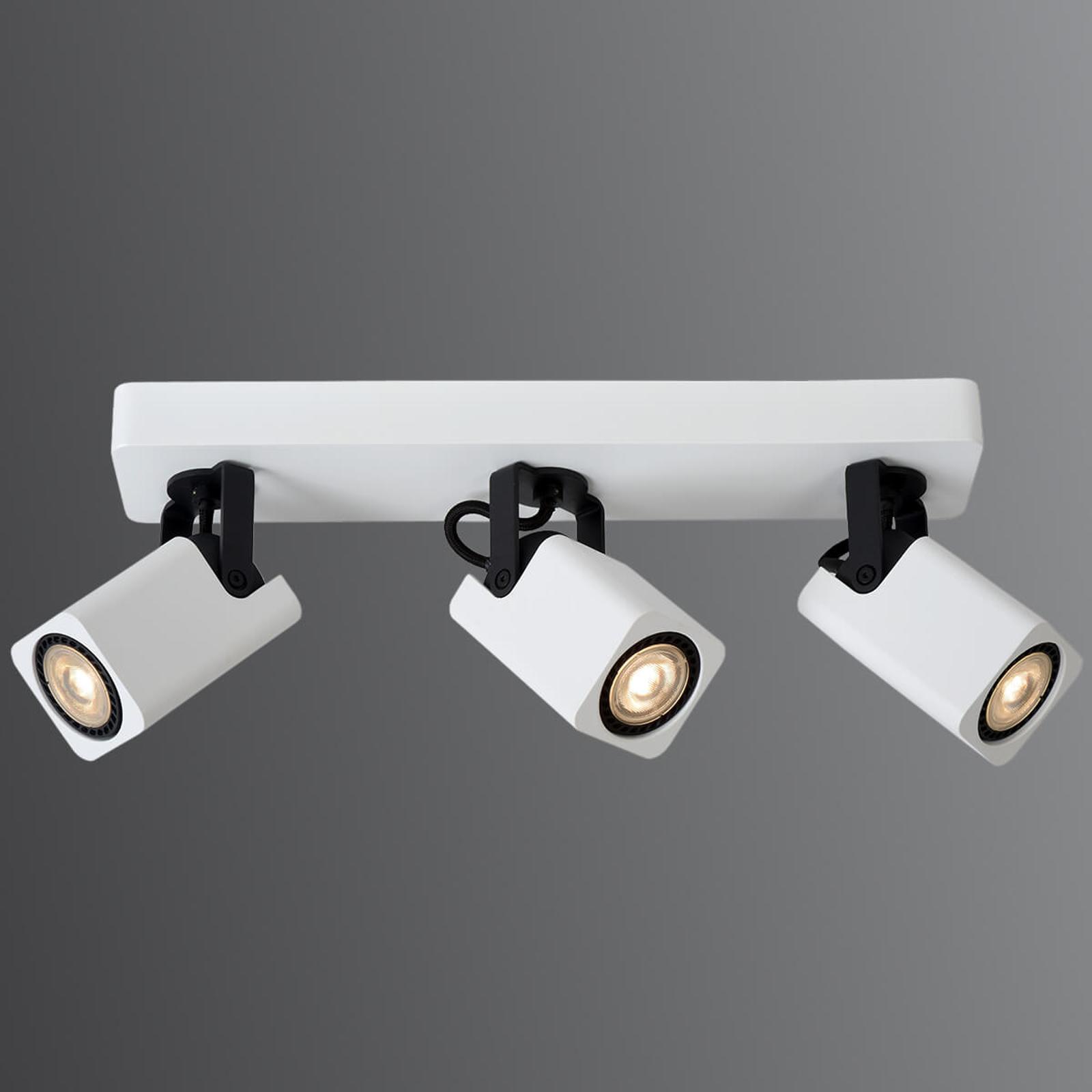 Plafonnier LED blanc Roax, à trois spots