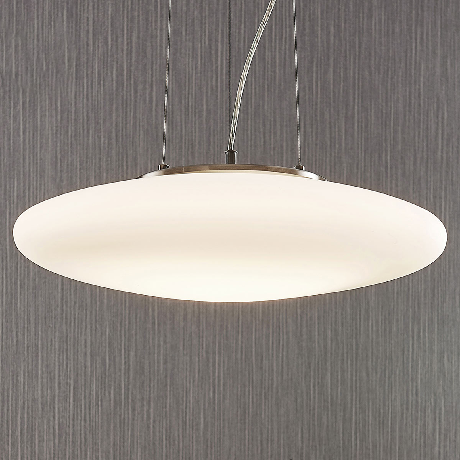 Suspension LED Gunda verre opale blanc