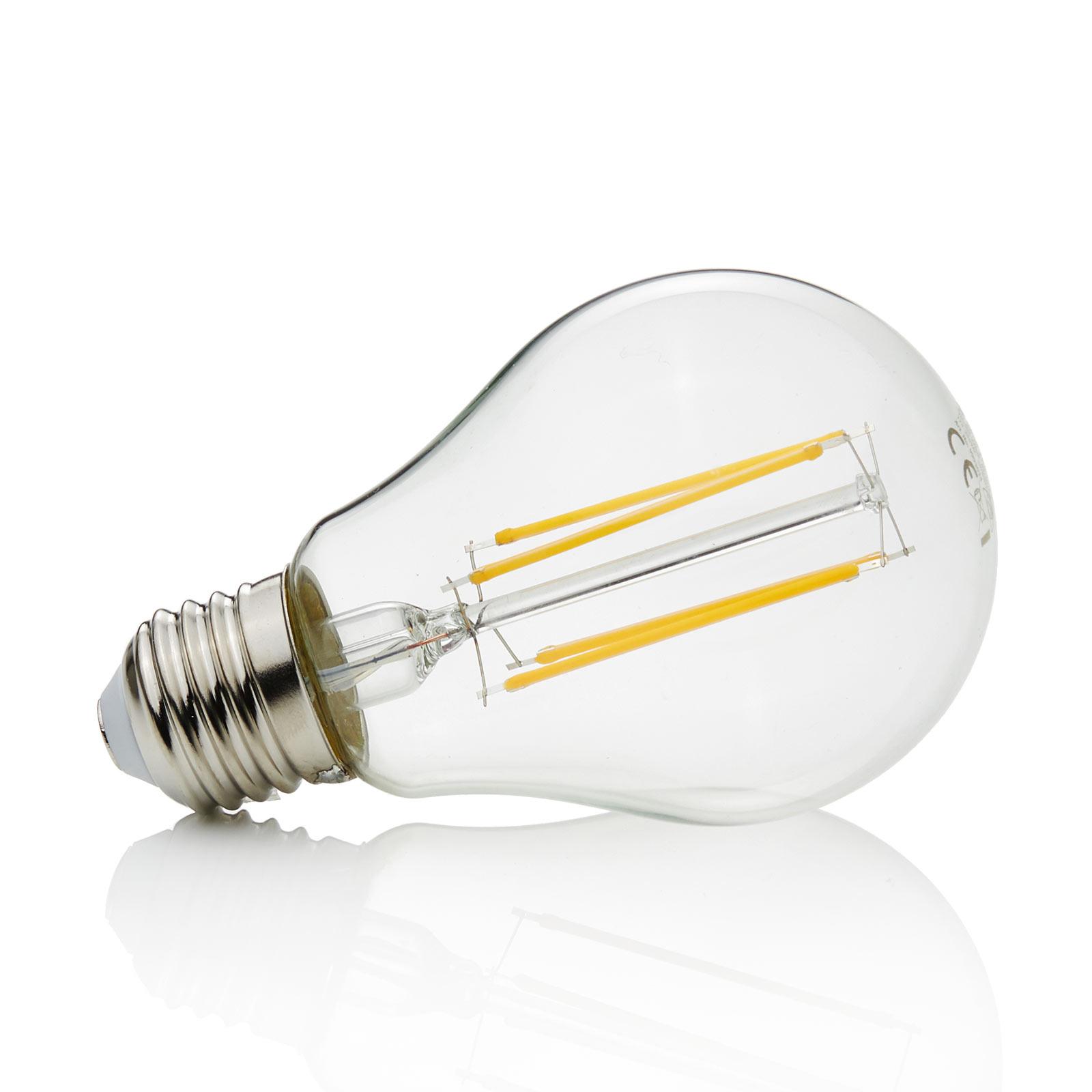 E27 LED-pære filament 8W, 1.055Lm, 2.700K, klar