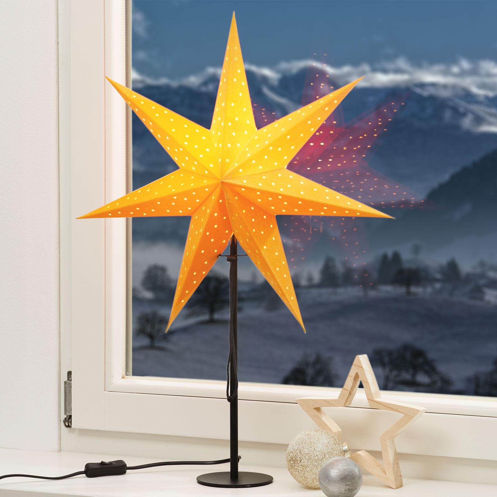 Gul s.stjerne Clara, fløyel-optikk, svart fot