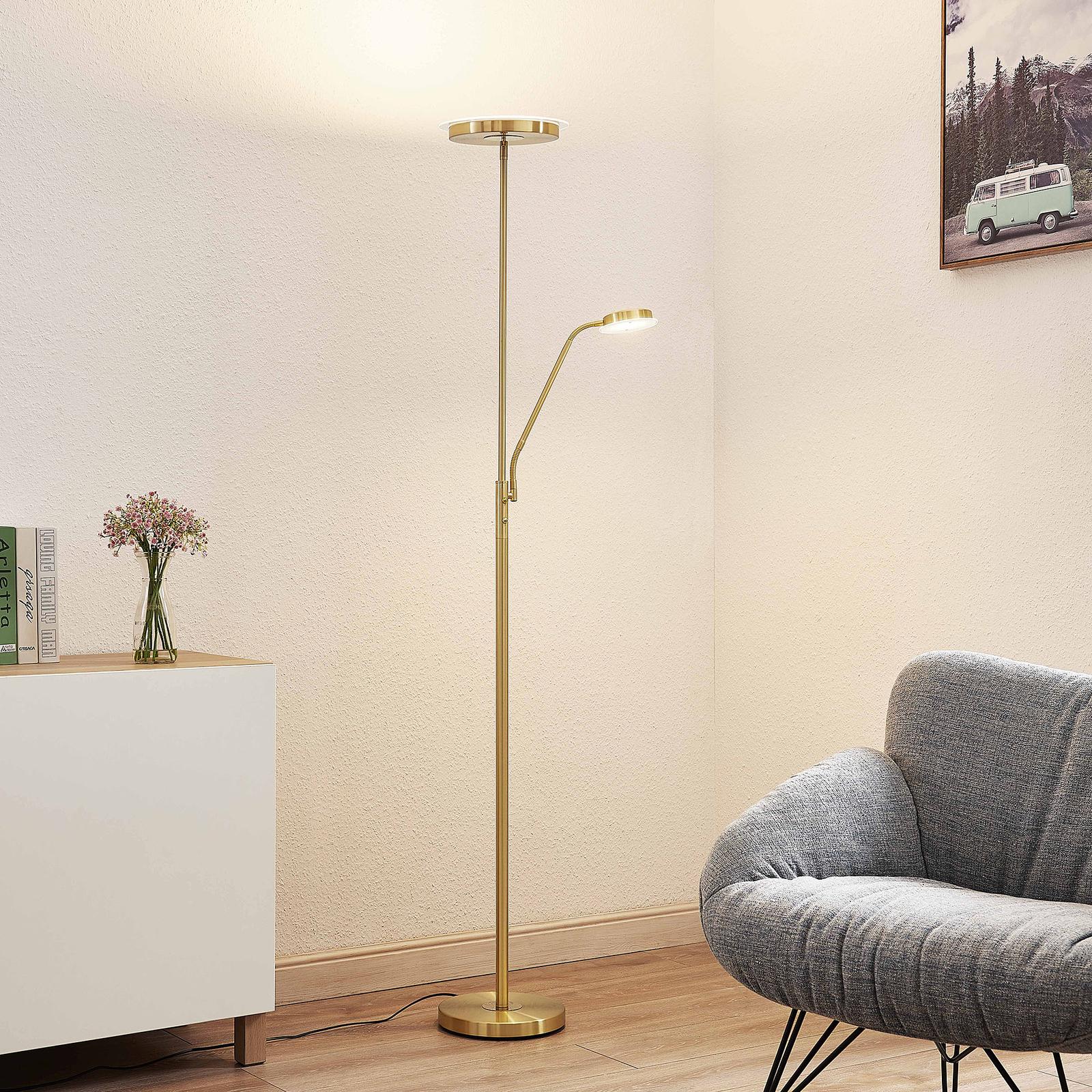Lindby Sumani lampa stojąca LED, okrągła, mosiądz