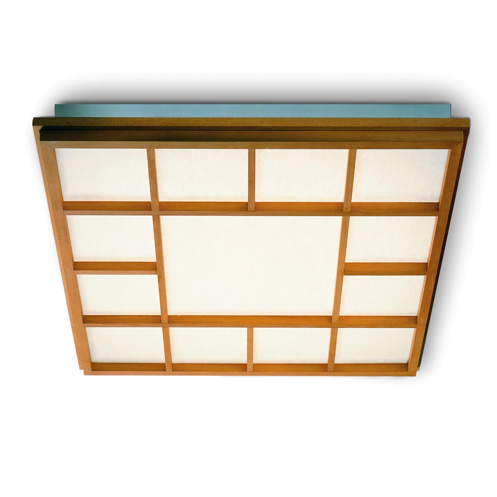 Neliön mallinen LED-kattolamppu Kioto 13, pyökki