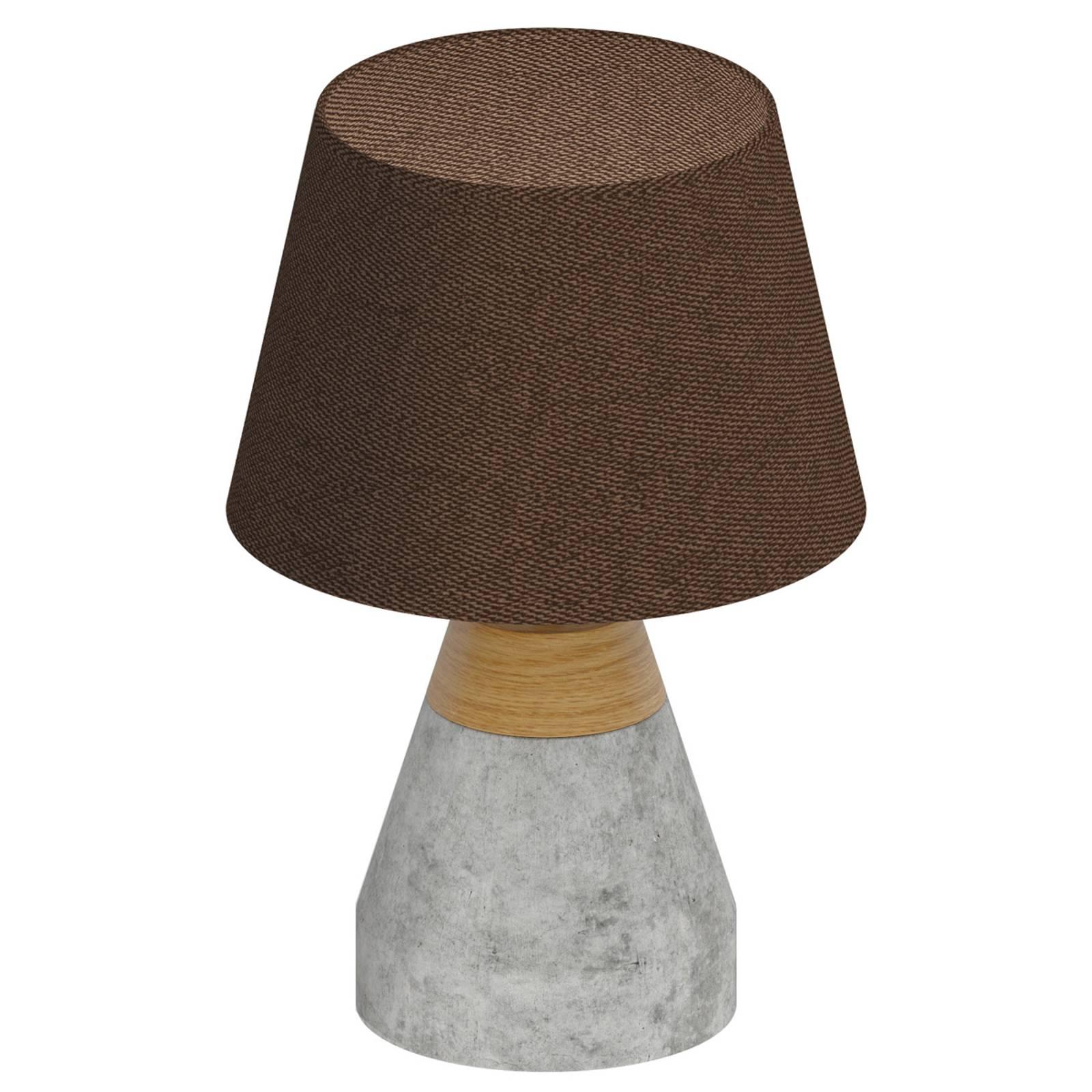 Mooie textiel tafellamp Tarega m. betonen voet