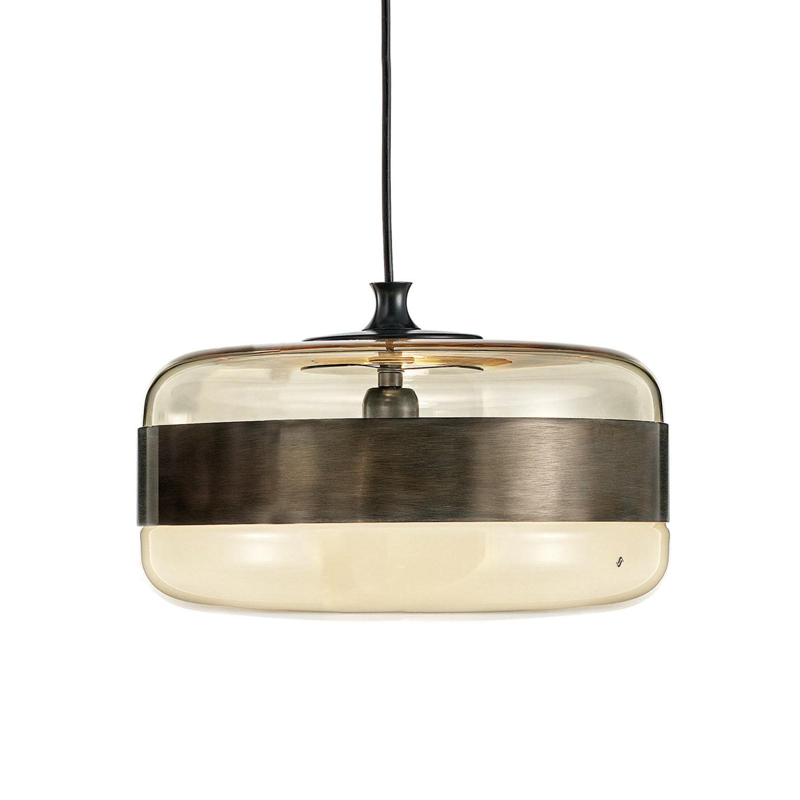 Szklana lampa wisząca Futura w brązie, 40 cm
