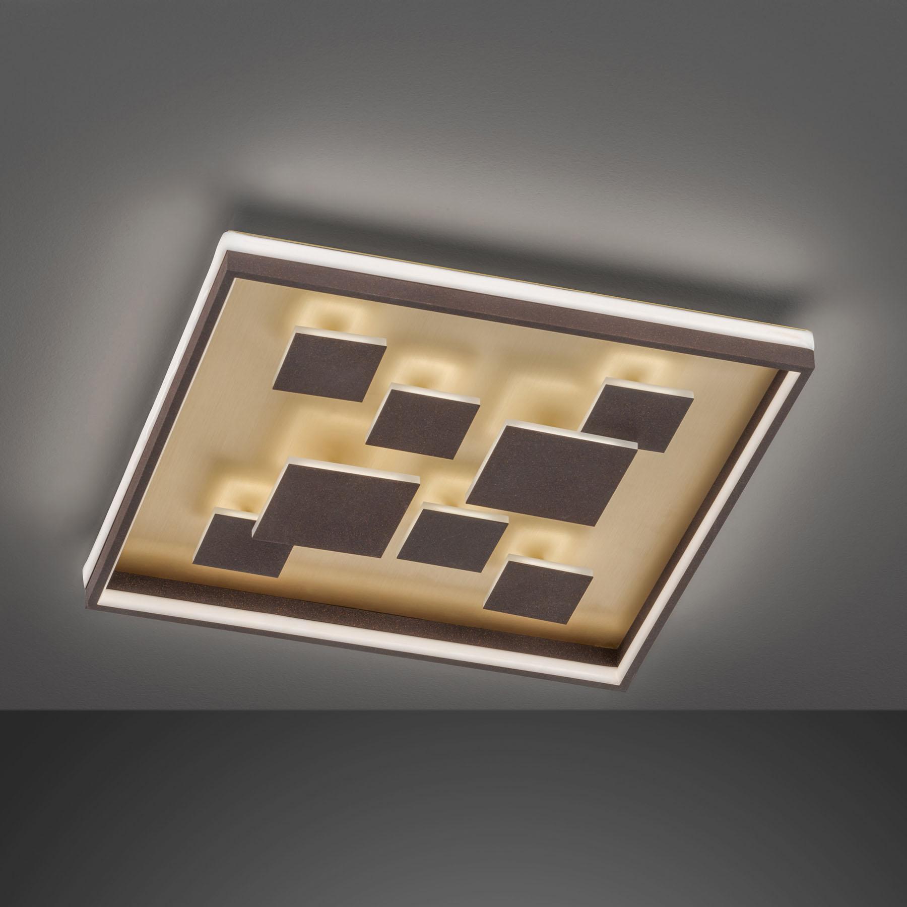 Lampa sufitowa LED Rico ściemniana kątowa, brązowa