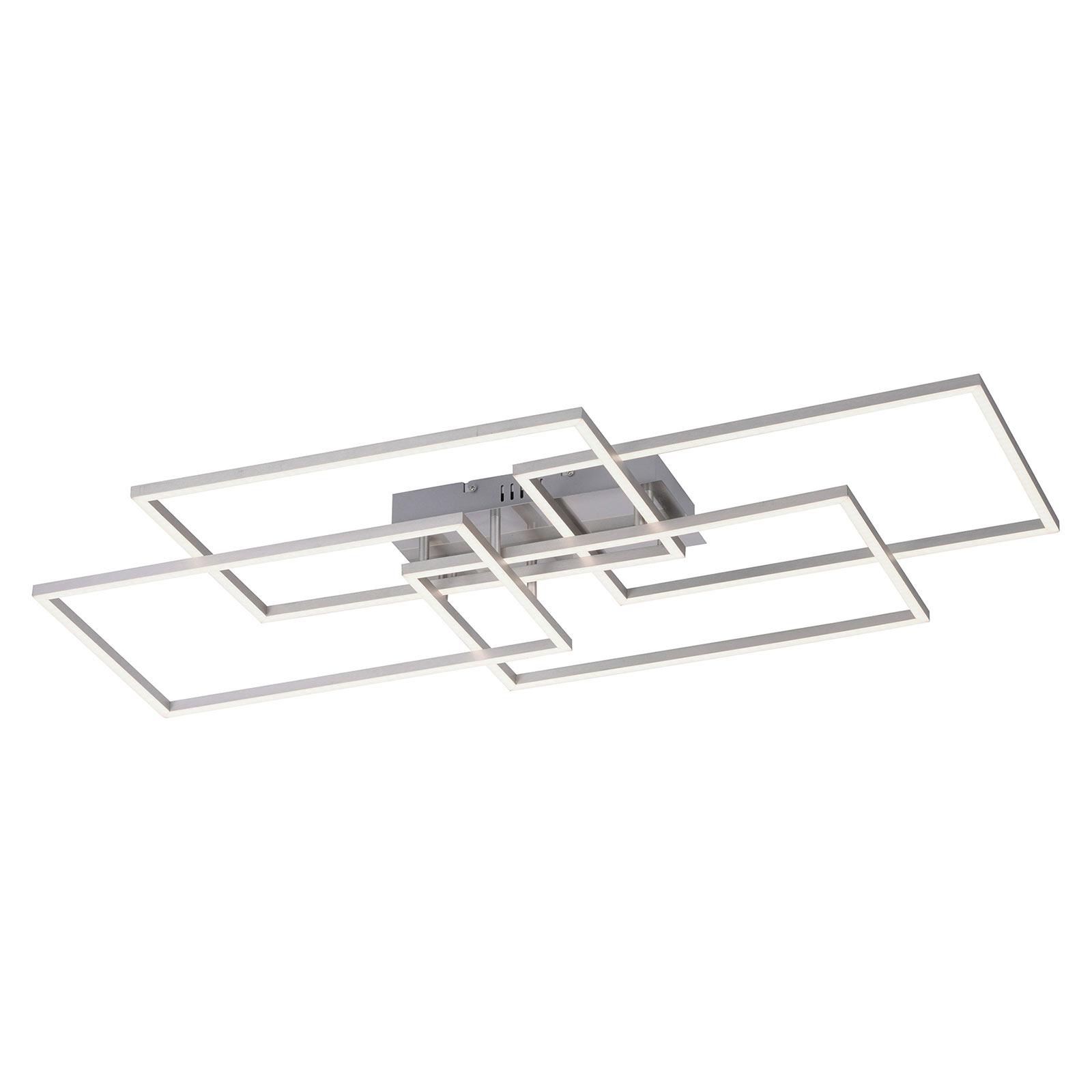 Iven LED-taklampe, stål, 4 lyskilder, kvadrat