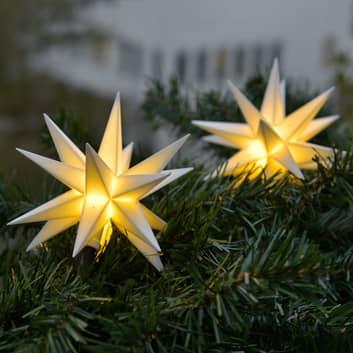 I hvitt – lyslenke LED med 9 stjerner til utebruk