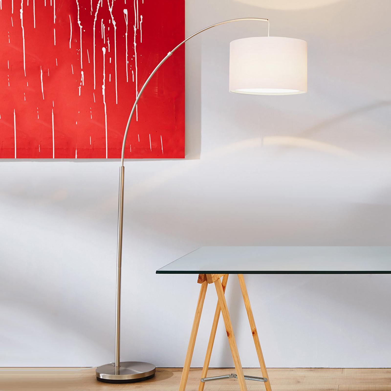 Lámpara de arco Clarie clásica, blanca