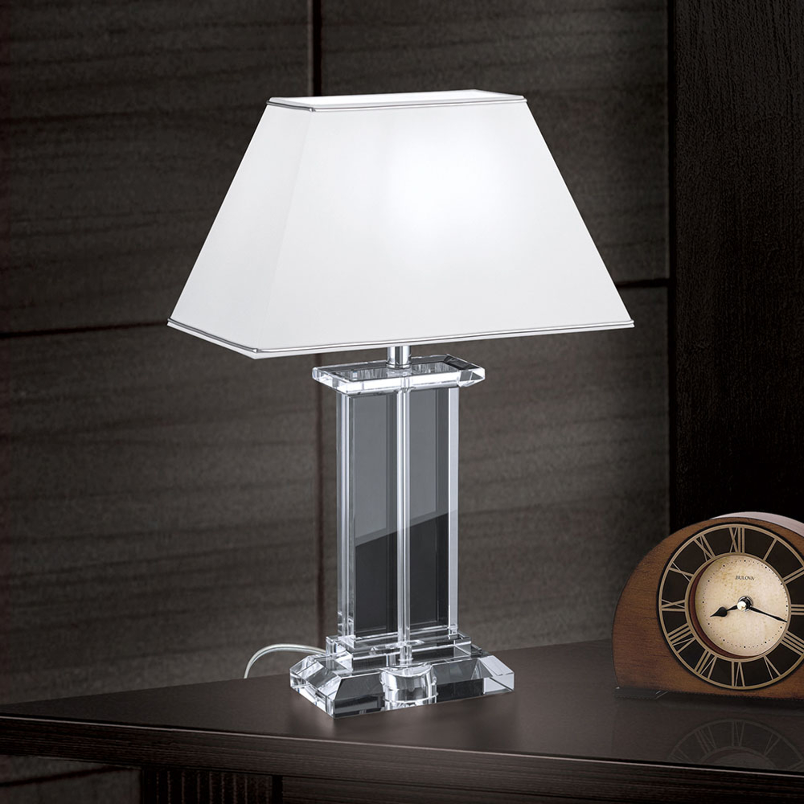 Lampa stołowa Veronique stopa szeroka biała/chrom