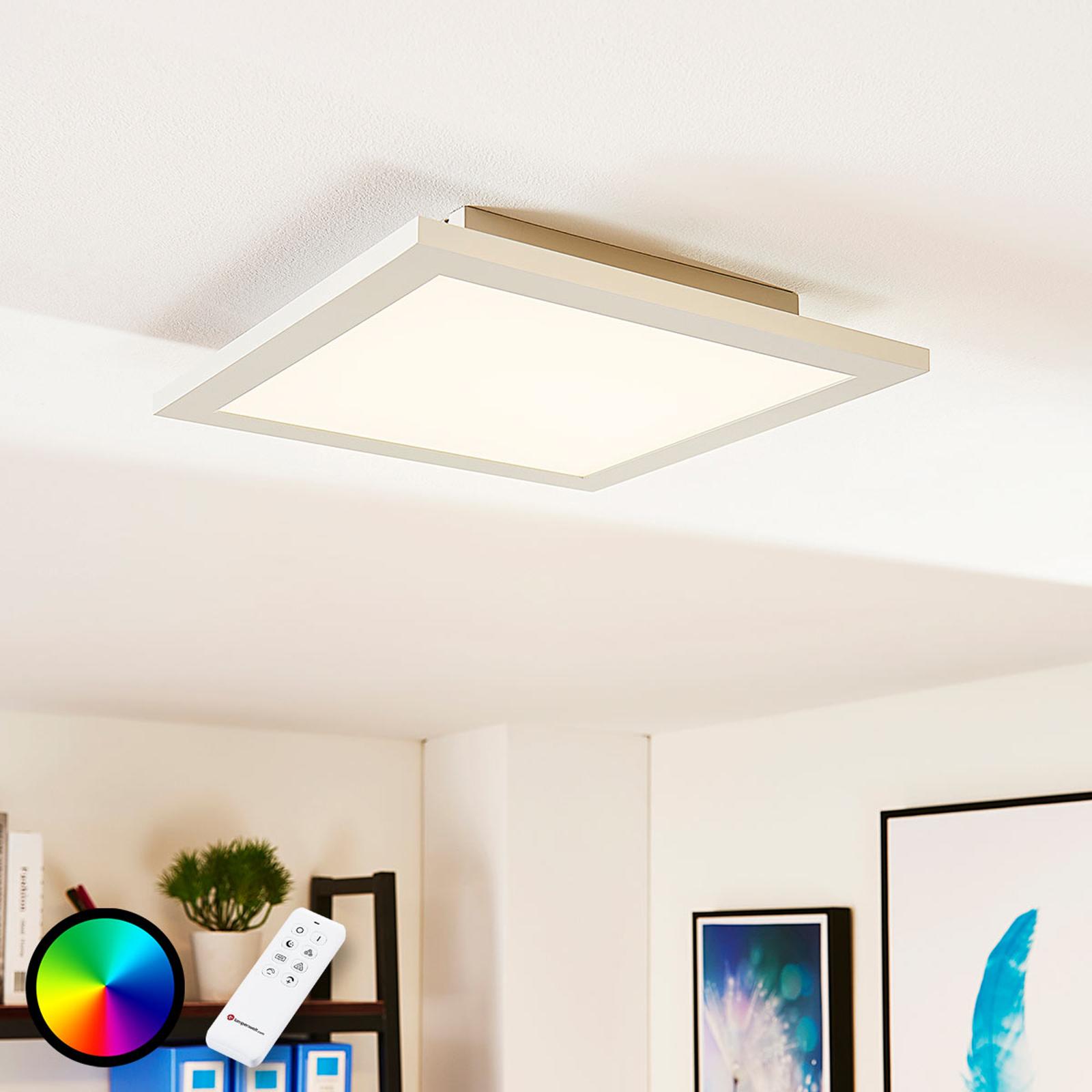 Kvadratisk LED-panel Tinus, RGB og varmhvit