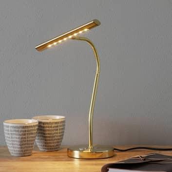 Messingfarget LED-bordlampe Curtis