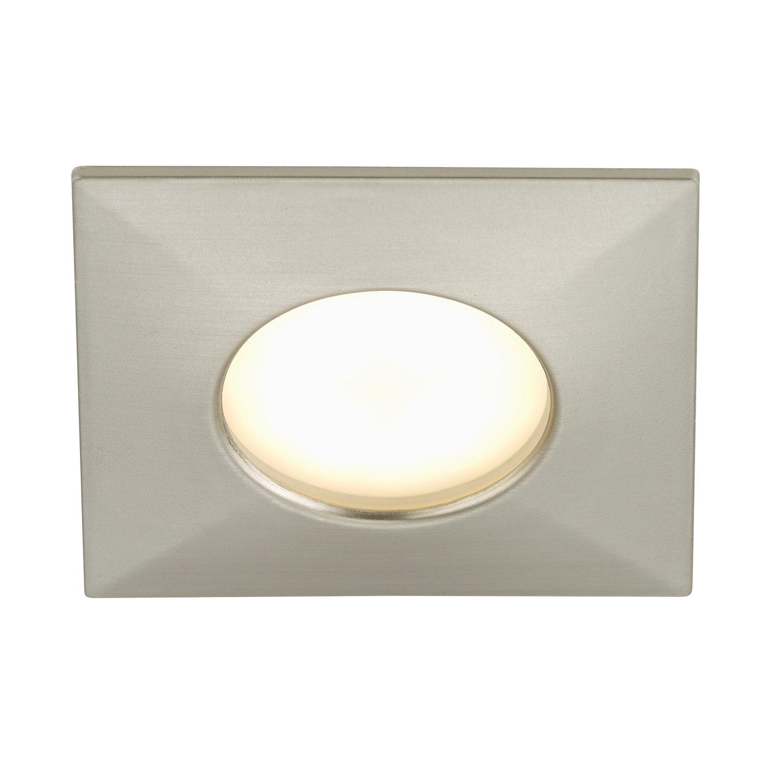 Hoekige LED inbouwlamp Ben voor buiten, mat nikkel