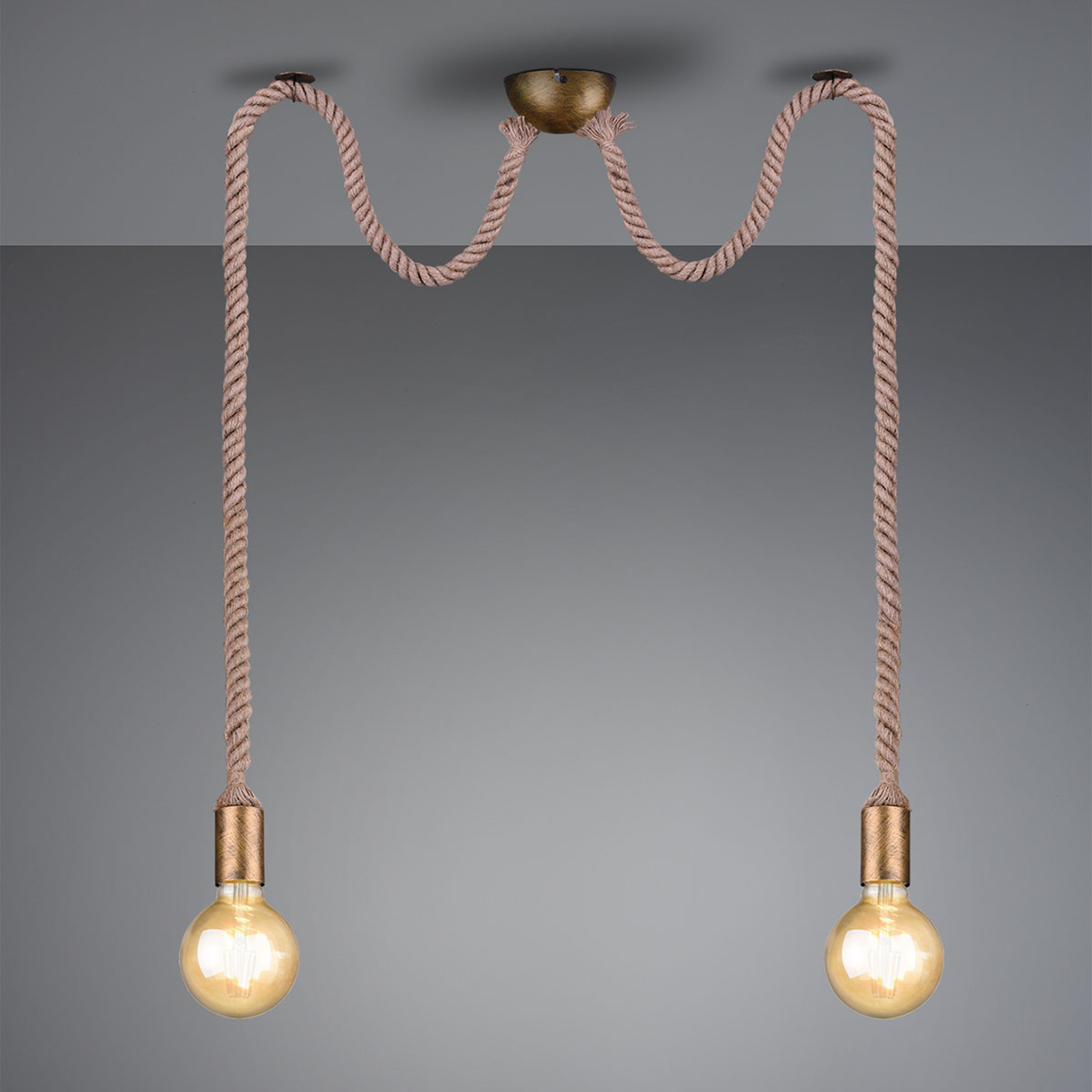 Hanglamp Rope met decoratieve kabel, 2-lamp