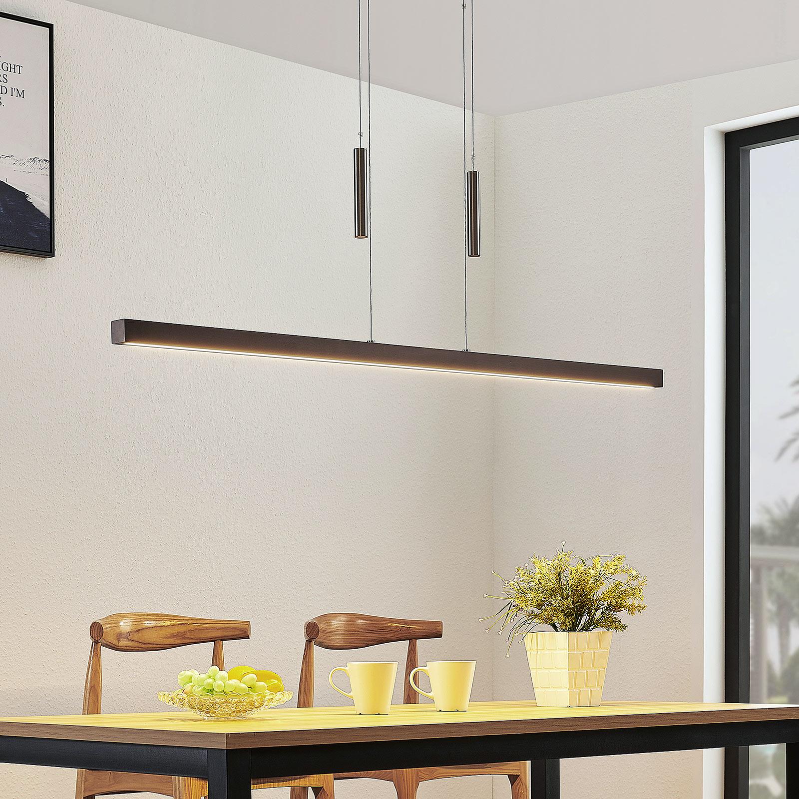 Drewniana lampa wisząca belka LED Tamlin, orzech