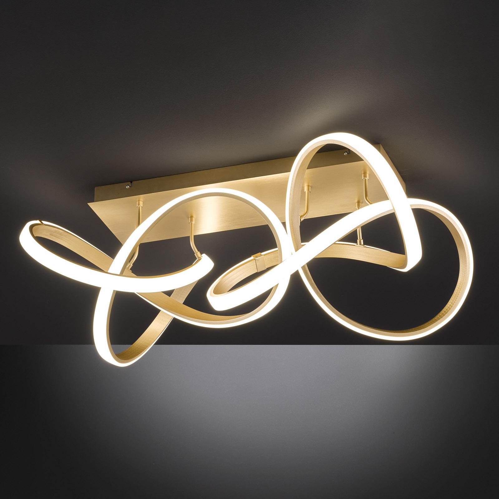 LED-taklampe Indigo, 2 lyskilder, gull matt
