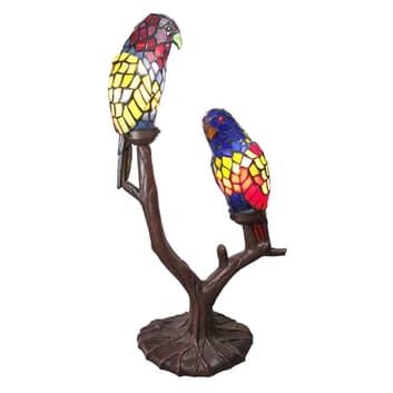 Lampada 6017, 2 pappagalli stile tiffany